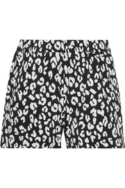 Leopard-print stretch-jersey shorts