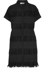Negril fringed cotton-gauze shirt dress