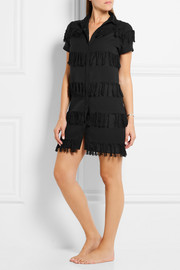 Prism Negril fringed cotton-gauze shirt dress