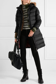 Authentic faux fur-trimmed quilted shell down coat