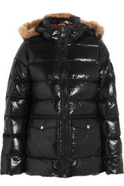 Pyrenex Authentic faux fur-trimmed glossed-shell down jacket