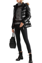 Authentic faux fur-trimmed glossed-shell down jacket