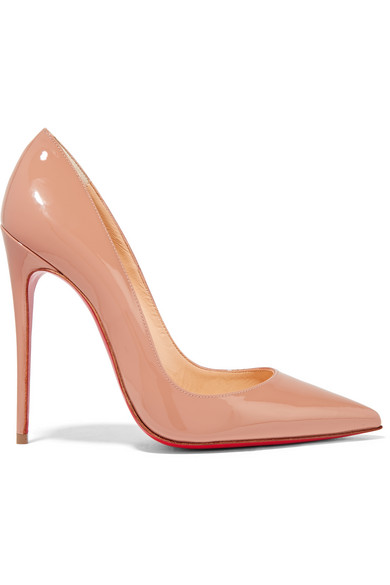 christian louboutin female christian louboutin so kate 120 patentleather pumps beige