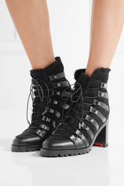 Christian Louboutin Chaletta 70 studded shearling and leather boots