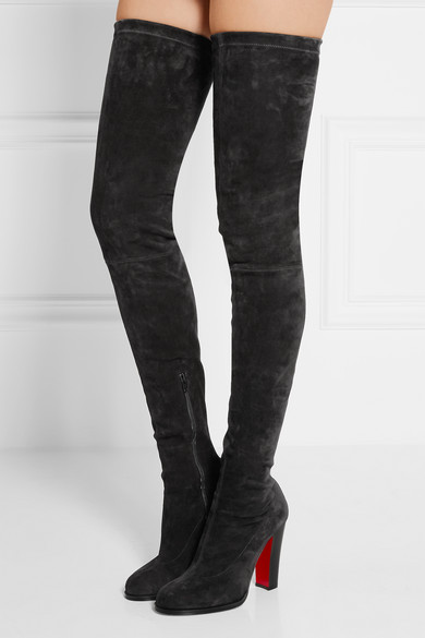 christian louboutin knee high boots suede