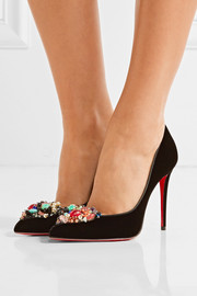 Christian Louboutin Iva Cora 100 embellished velvet point-toe pumps