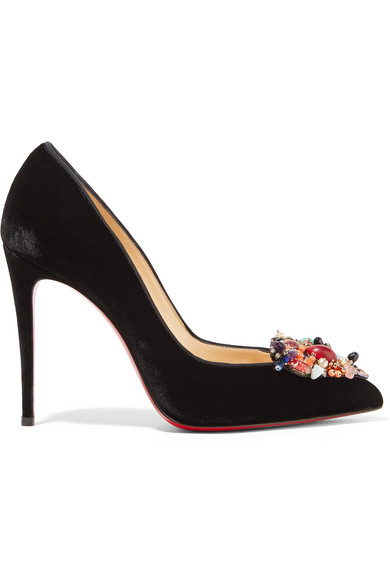 christian louboutin female christian louboutin iva cora 100 embellished velvet pointtoe pumps black