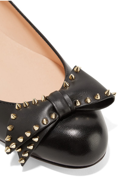 Louboutin Ballalarina Flat Leather Shoes With Bow Detail