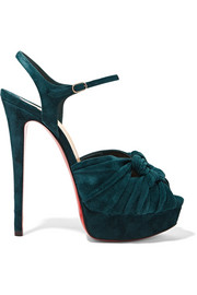 Christian Louboutin Ionescadiva 150 knotted suede platform sandals