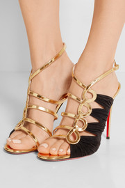 Christian Louboutin Tina 100 metallic leather and suede sandals