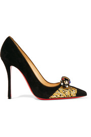 Tudor Net 100 brocade-trimmed embellished suede pumps