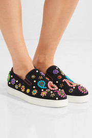 Christian Louboutin Boat Candy 20 embellished suede slip-on sneakers