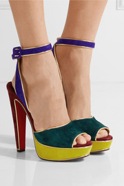 Louloudance color-block suede sandals