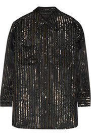 Kate Moss for Equipment Daddy metallic striped silk-chiffon shirt