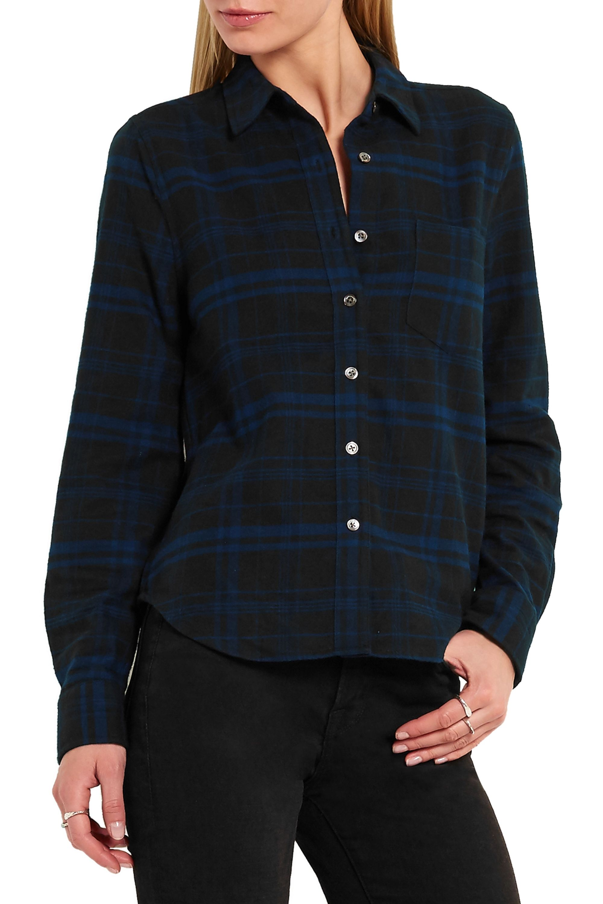 Kate Moss for Equipment + Kate Moss London checked brushed-cotton shirt