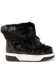Nala textured-leather and faux-fur boots