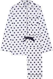Jamie polka-dot cotton-poplin pajama set