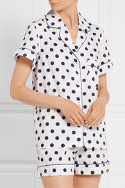 Eloise polka-dot cotton-poplin pajama set