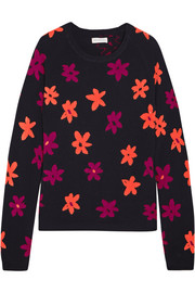 Chinti and Parker Floral-intarsia cashmere sweater