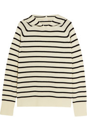 Chinti and Parker Striped merino wool hooded top