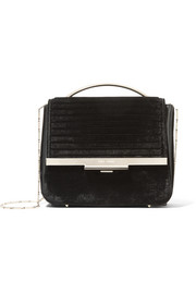 Colt Tech leather-trimmed velvet shoulder bag