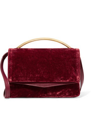 Eddie Borgo Boyd Vanity leather-paneled velvet shoulder bag