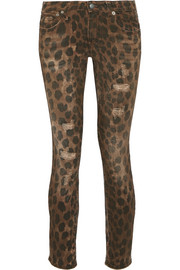 R13 Kate distressed low-rise leopard-print skinny jeans