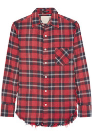 R13 Inside Out plaid cotton-flannel shirt