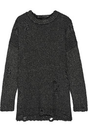 R13 Distressed mélange knitted sweater