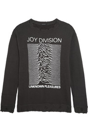 R13 Joy Division distressed printed cotton-jersey sweatshirt