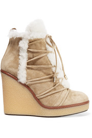 Shearling-trimmed suede wedge boots