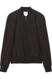 Cape-effect wool-blend bomber jacket