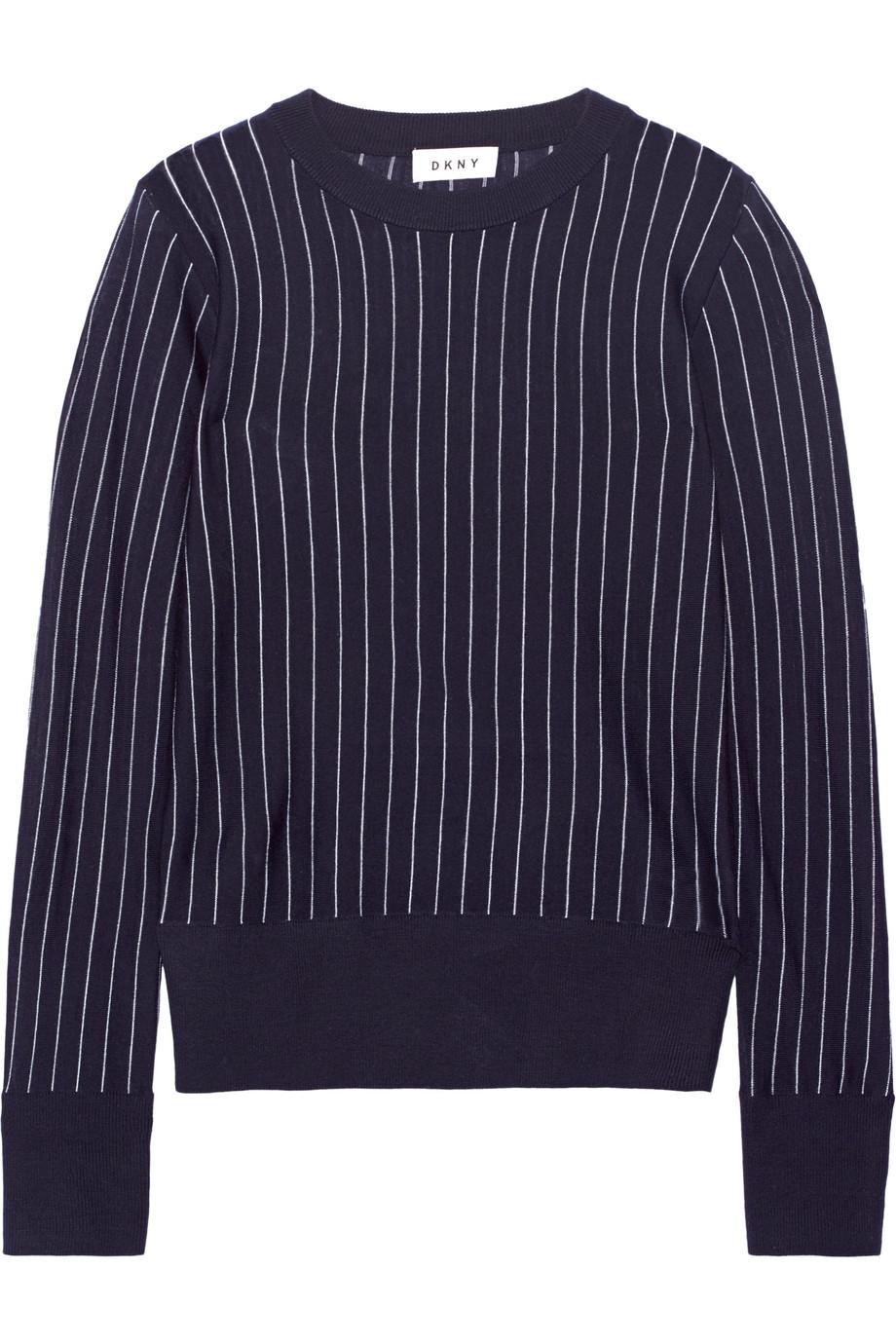 DKNY Striped Merino Wool Sweater, Navy, Women's, Size: XXS