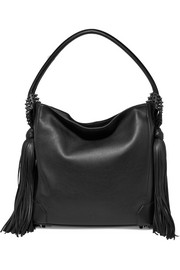 Eloise tasseled textured-leather shoulder bag