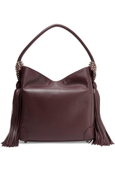 christian louboutin female christian louboutin eloise tasseled texturedleather shoulder bag merlot