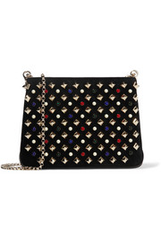 Christian Louboutin Triloubi small embellished suede and leather shoulder bag