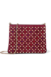 Christian Louboutin Triloubi large embellished suede and leather shoulder bag