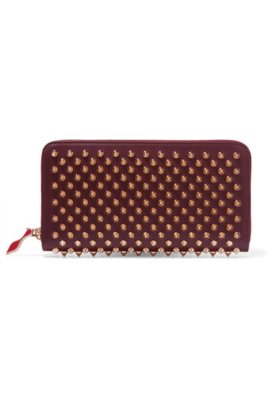christian louboutin female christian louboutin panettone spiked leather wallet burgundy