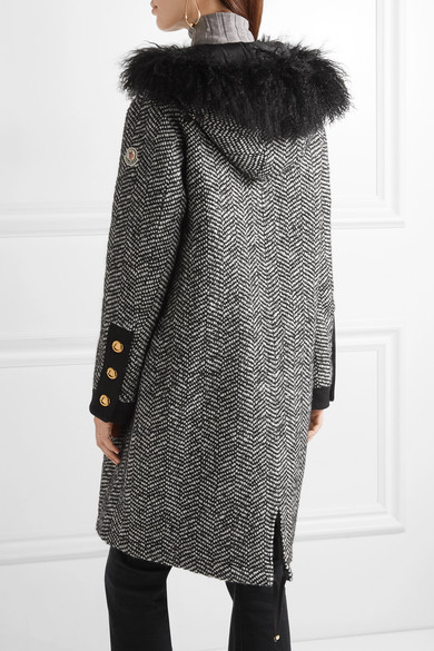 Moncler Down-lara Coat Of Tweed With Shearling-painting And Decorating