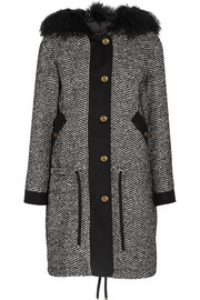 Moncler Lara shearling-trimmed tweed down coat