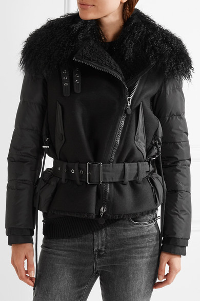 MONCLER Grace shearling-trimmed quilted shell down jacket