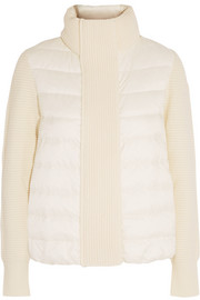Moncler Maglione quilted shell and ribbed wool jacket