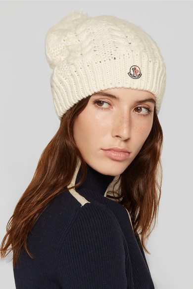 bf07390116771 Moncler. Pompom-embellished cable-knit beanie