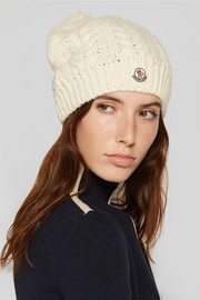 Pompom-embellished cable-knit beanie