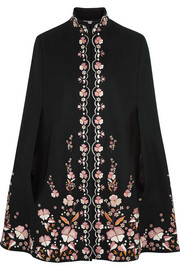 Embroidered wool-blend cape