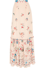 Lily floral-print silk crepe de chine maxi skirt