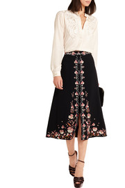 Claire embroidered crepe skirt