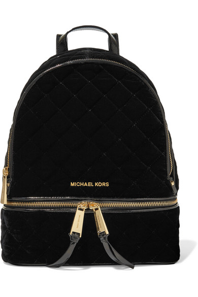 michael michael kors rhea patent leather trimmed quilted velvet rh net a porter com