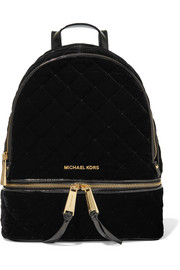 Rhea patent leather-trimmed quilted velvet backpack