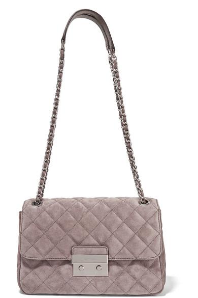 Sloan large quilted suede shoulder bag